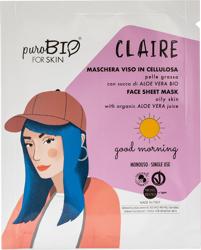 CLAIRE GOOD MORNING MASQUE VISAGE EN CELLULOSE AU JUS BIO ALOE VERA - POUR PEAU GRASSE