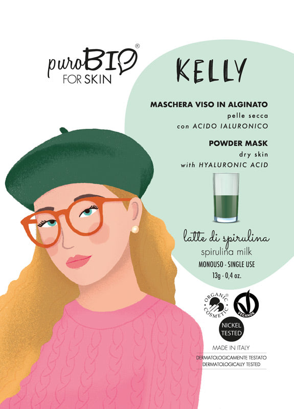 KELLY FACE MASK IN ALGINATE WITH SPIRULINA MILK AND HYALURONIC ACID - FOR DRY SKIN