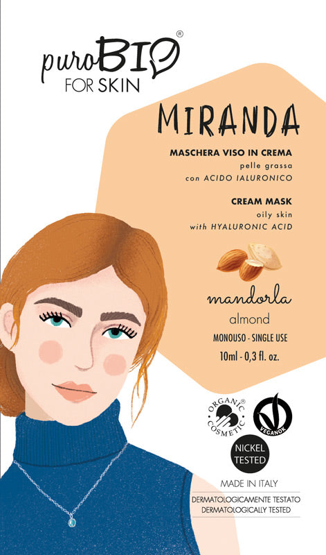 MIRANDA FACE MASK IN CREAM WITH ALMOND AND HYALURONIC ACID - FOR OILY SKIN