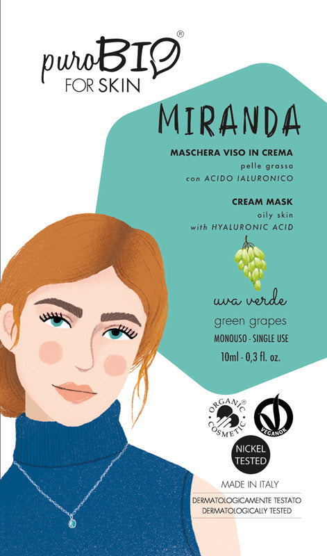 MIRANDA FACE MASK in CREAM with GREEN GRAPES and HYALURONIC ACID - FOR OILY SKIN