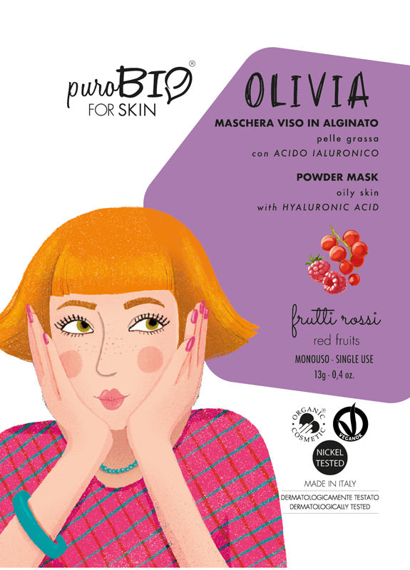 OLIVIA FACE MASK IN ALGINATE WITH RED FRUITS AND HYALURONIC ACID - FOR OILY SKIN