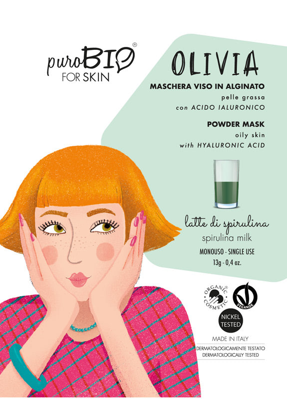 OLIVIA FACE MASK IN ALGINATE WITH SPIRULINA MILK AND HYALURONIC ACID - FOR OILY SKIN