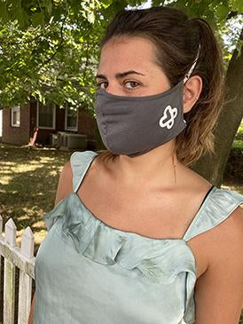 Grey Double Heart | 2 Layer Cotton Mask for Adults 18 and Over