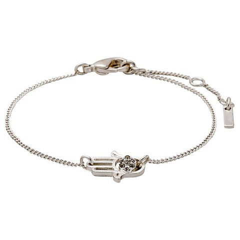 Bracelet Felicity Hand Silver Plated Grey Crystal