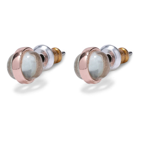 Earrings  Rumer Studs Rose Gold Pleated - green by Pilgrim - Maaike Kleedt Online