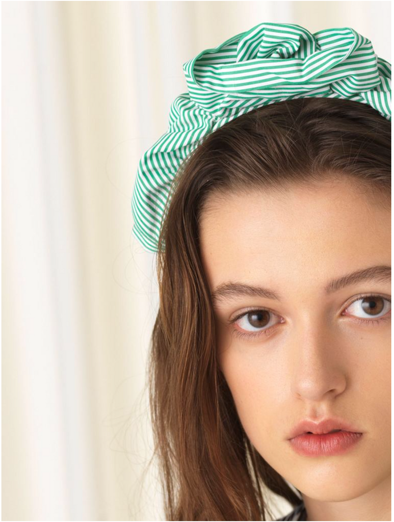 Headband Summer Stripes Grass Green - Maaike Kleedt Online