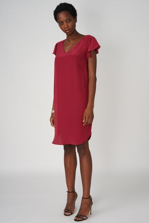 Mini Dress Silk Raglan Bordeaux