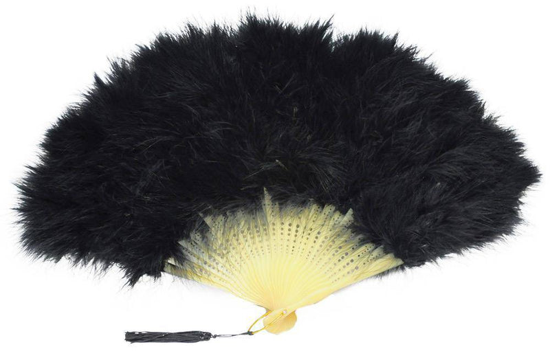 American Plume Marabou Feather Fan Masquerade Accessory - Costume Arena