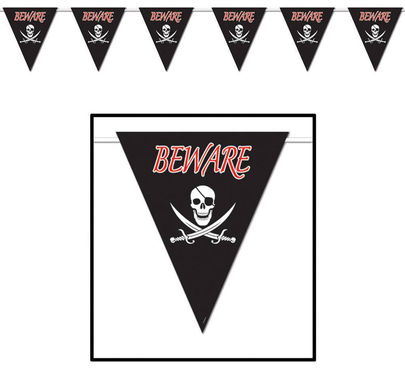 Beistle Beware of Pirates Giant Banner Decoration - Costume Arena