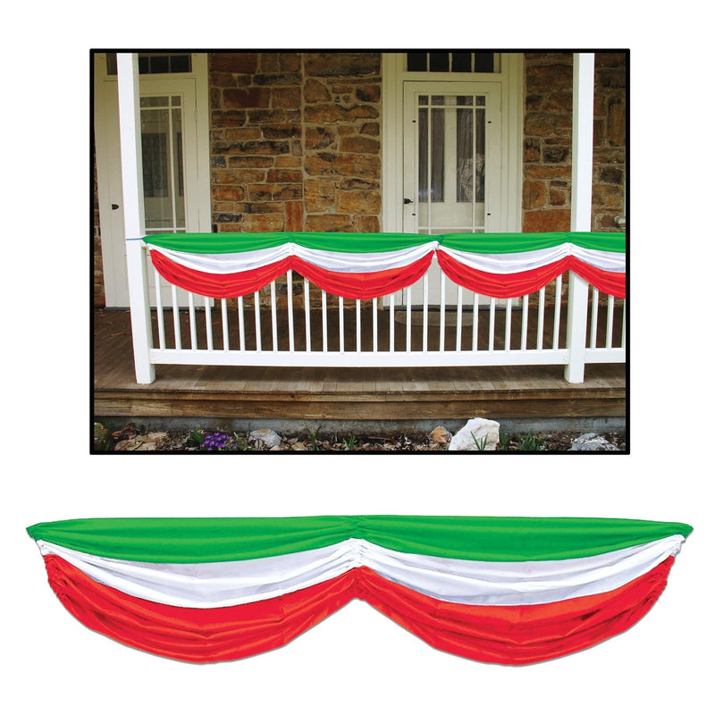 Beistle Red White Green Fabric Bunting Decoration - Costume Arena