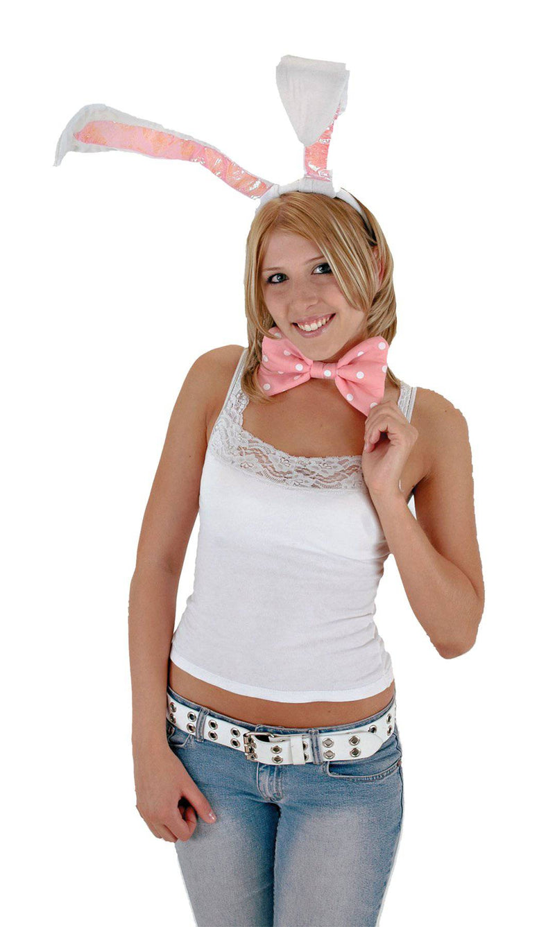 elope Bunny Headband Ears w/Bow & Tail Accessory - Costume Arena