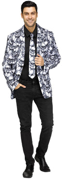 Fun World Men's Plus Size Skull Jacket & Tie Costume - Costume Arena