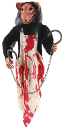 Fun World Scary Haunted Theme Butcher Pig Hanging Prop - Costume Arena