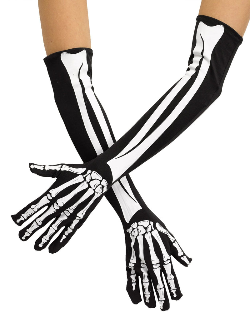 Fun World Skeleton Opera Gloves Scary Career Accessory - Costume Arena