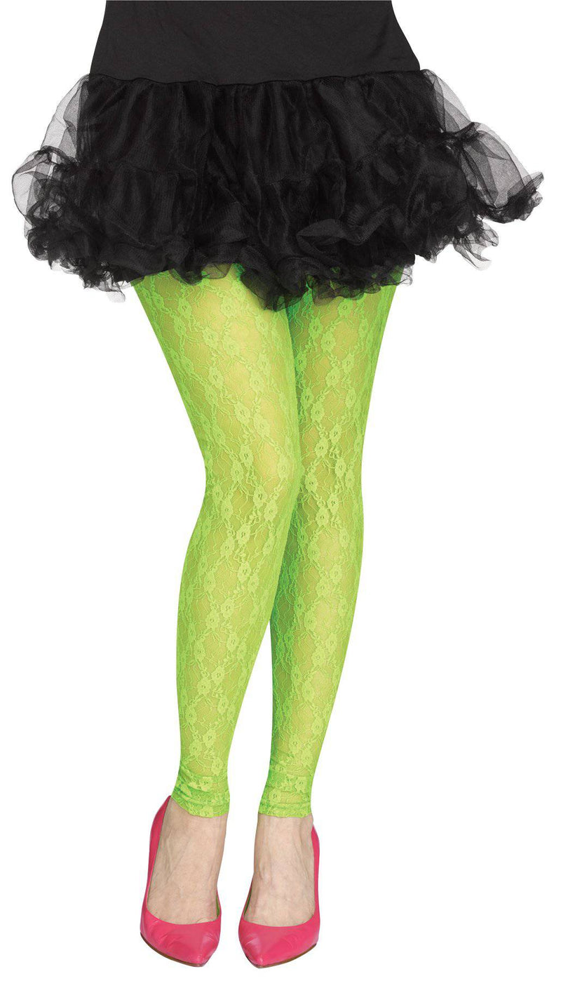 Fun World Women's Footless Tights Lace 80s Accessory - Costume Arena