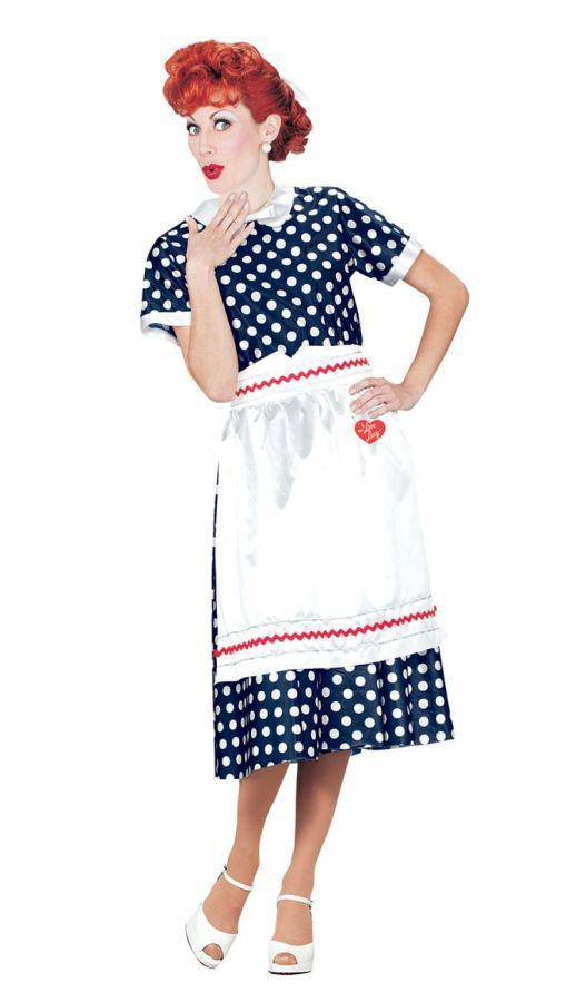 Fun World Women's I Love Lucy Polka Dot Dress Costume - Costume Arena