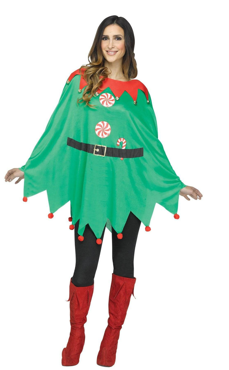 Fun World Women's Plush Green Elf Poncho Adult Costume - Costume Arena