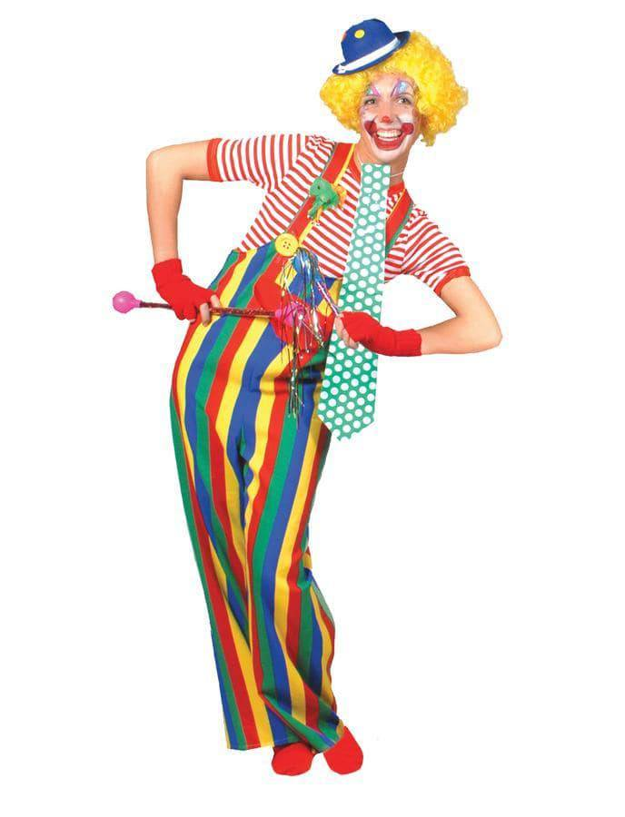 Funny Fashion Men's Striped Clown Overalls Party Costume - Costume Arena