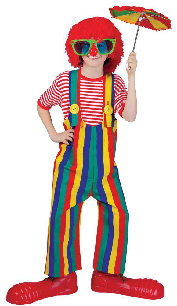 Funny Fashion Stripped Oversized Clown Theme Child Costume - Costume Arena