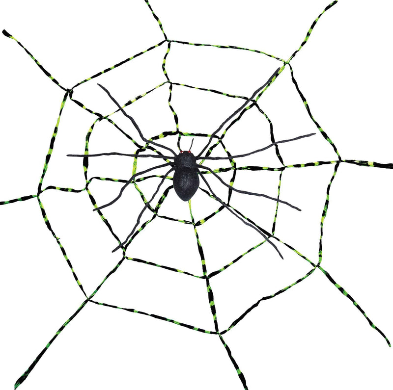 Gemmy (Sun Star) Spiderweb With Spider Halloween Decorations - Costume Arena