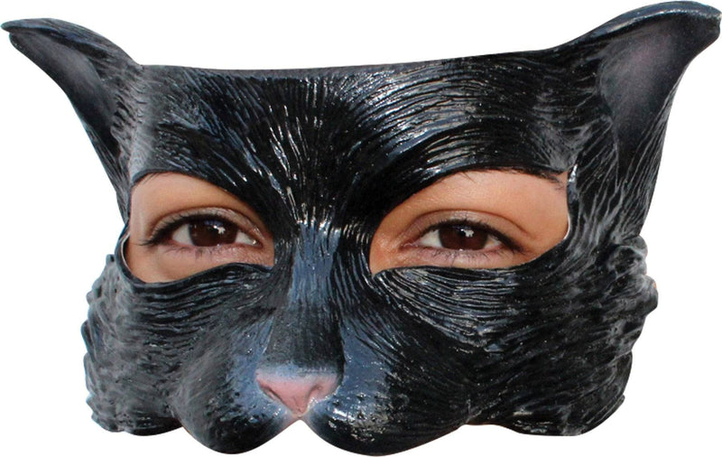 Ghoulish Productions Black Kitty Latex Theme Humorous Half Mask - Costume Arena