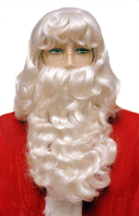 Lacey Wigs Men's Super Deluxe Santa 002 Set Party Wig - Costume Arena