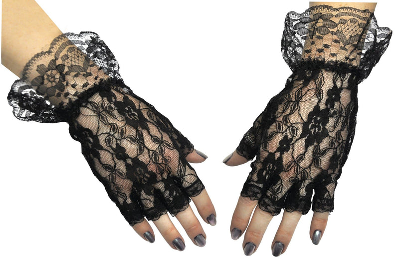 Morris Costumes Black Fingerless Gloves Fancy Accessory - Costume Arena