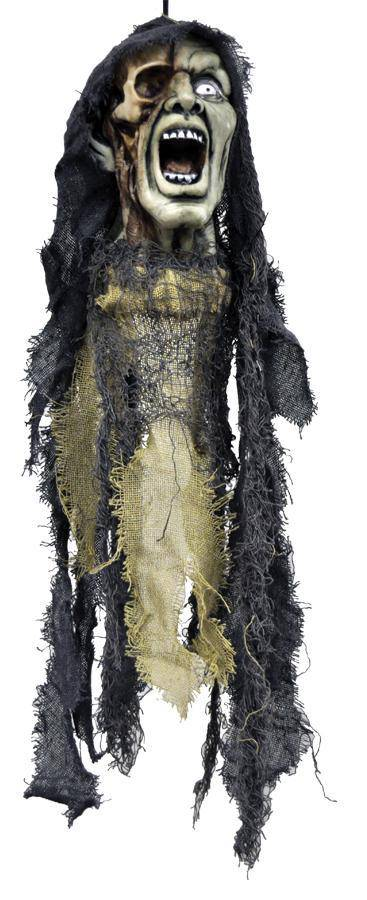 Morris Costumes Hanging Ghoul Head w/ Open Mouth Decoration - Costume Arena