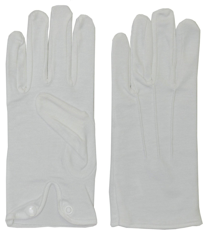 Morris Costumes White Cotton Gloves W Snap Fancy Accessory - Costume Arena