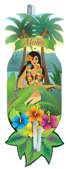 Tropical Sun Girl Hanging Lei Greeter Door Decoration - Costume Arena