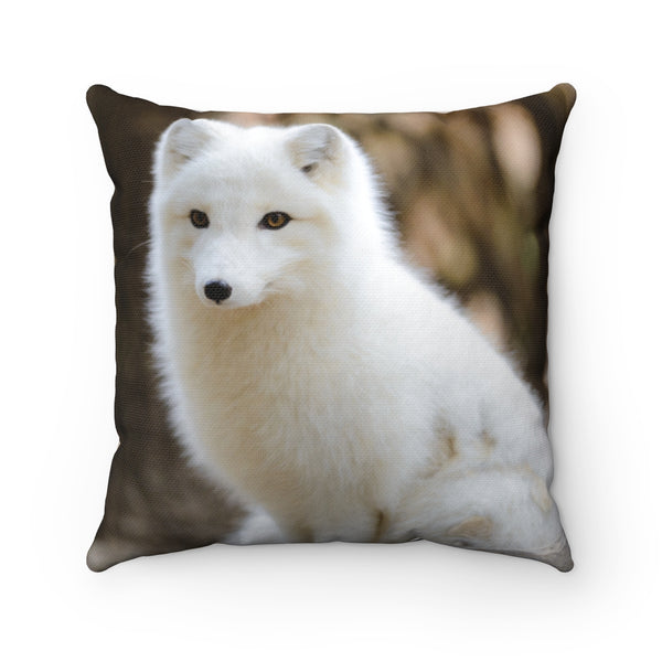 Spun Polyester Square Pillow/White Wolf