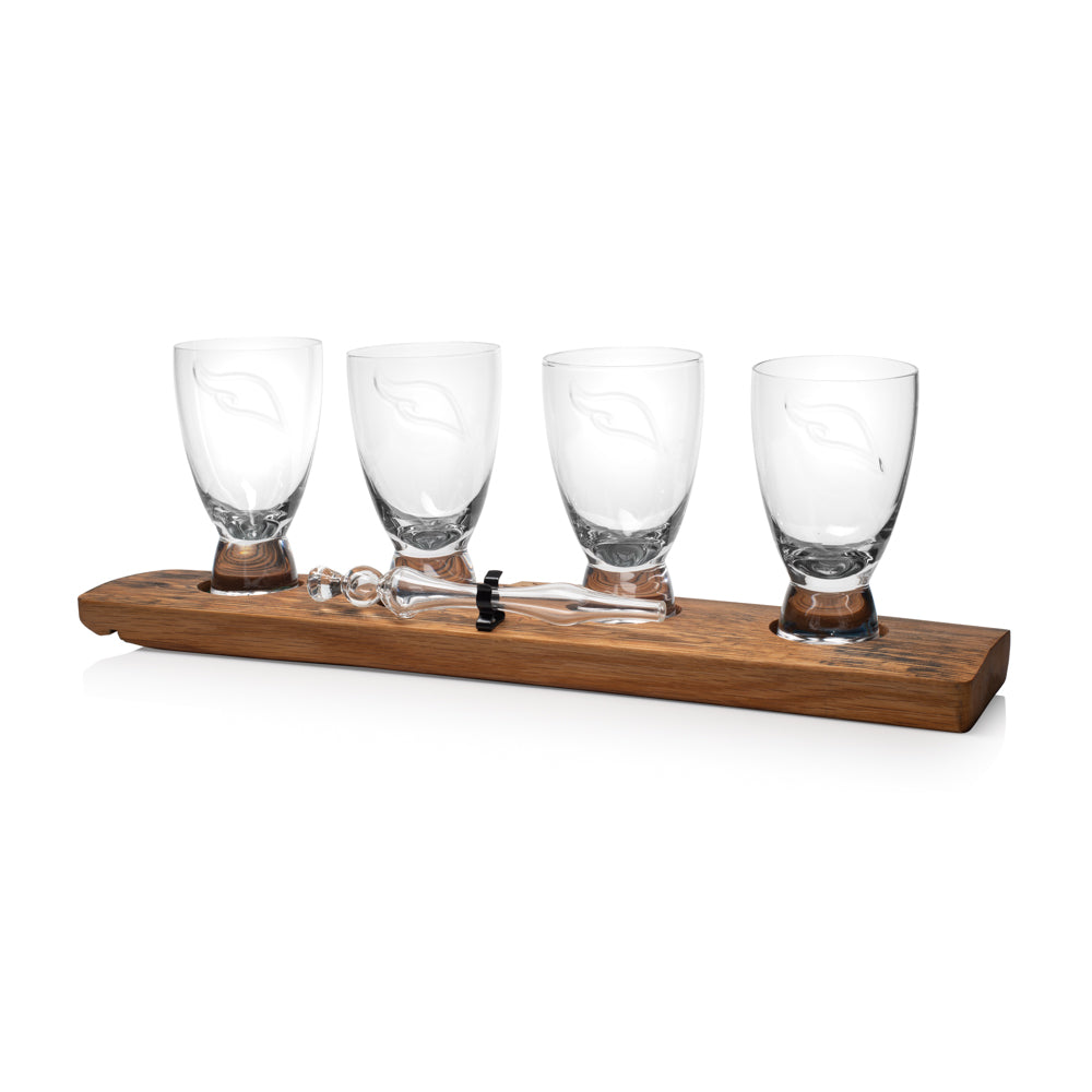 Oak Stave Whisky Flight with 4 Spirit Glasses
