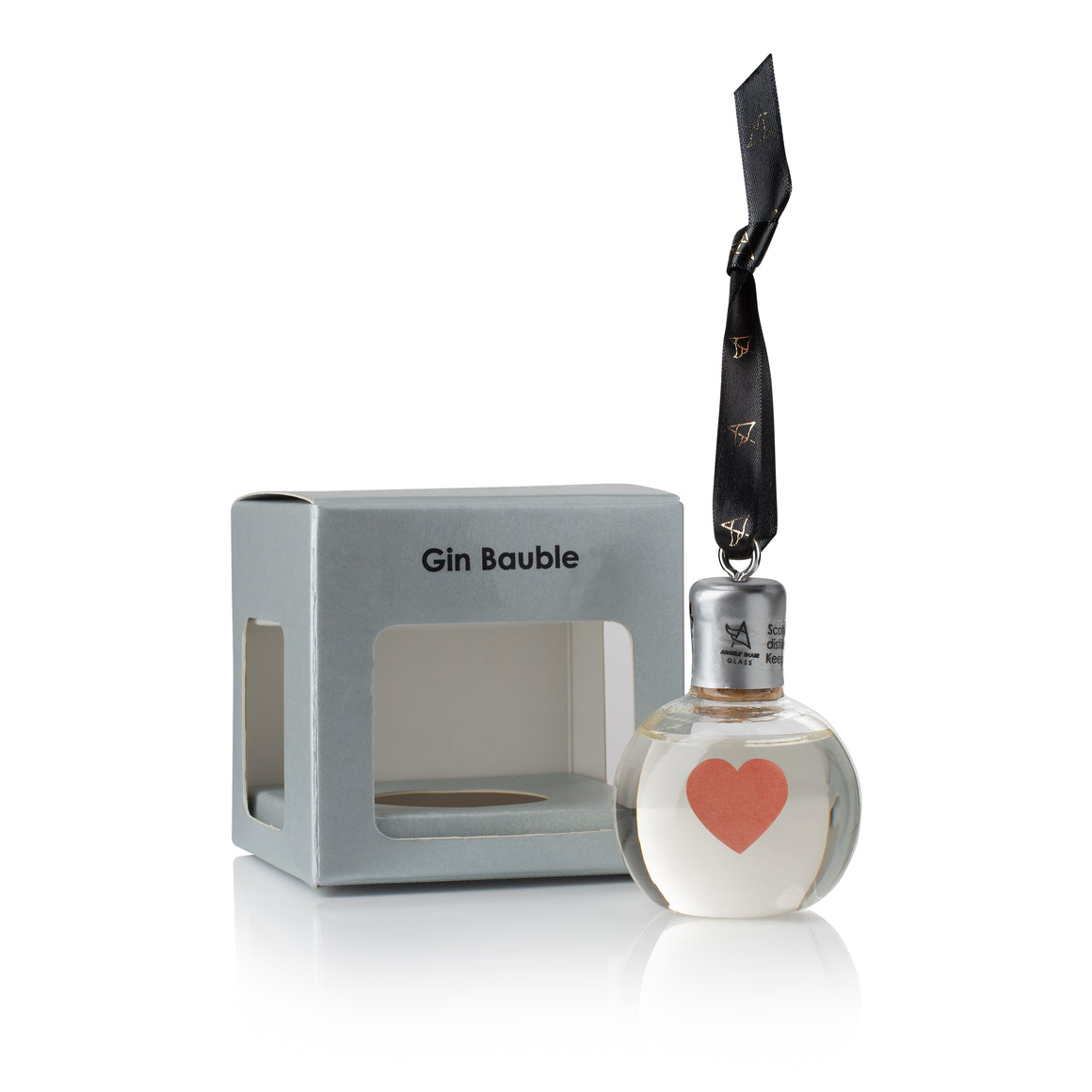 Glass Gin Baubles with Love heart Tattoo