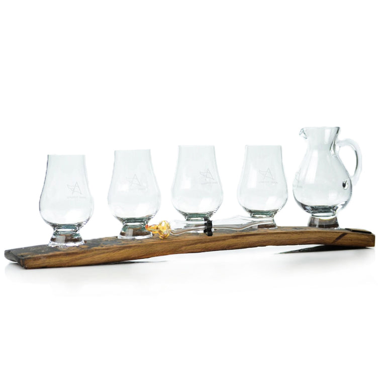 Oak Stave Whisky Flight 4 Glasses with Jug