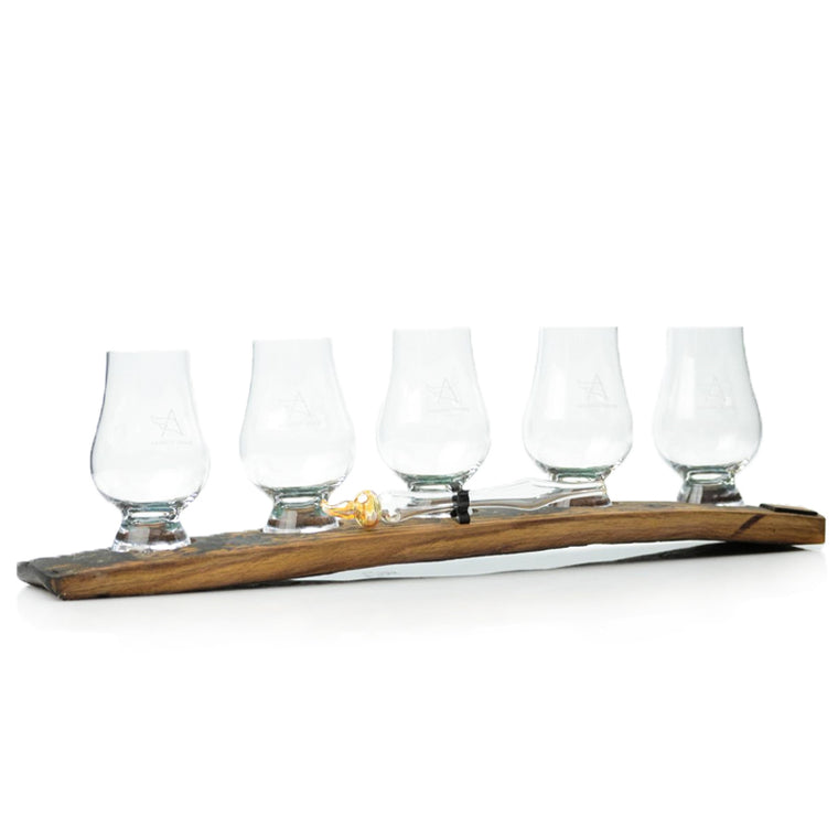 Oak Stave Whisky Flight with 5 Glasses