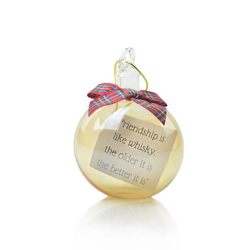 Glass Bauble with choice of Whisky Quote inside