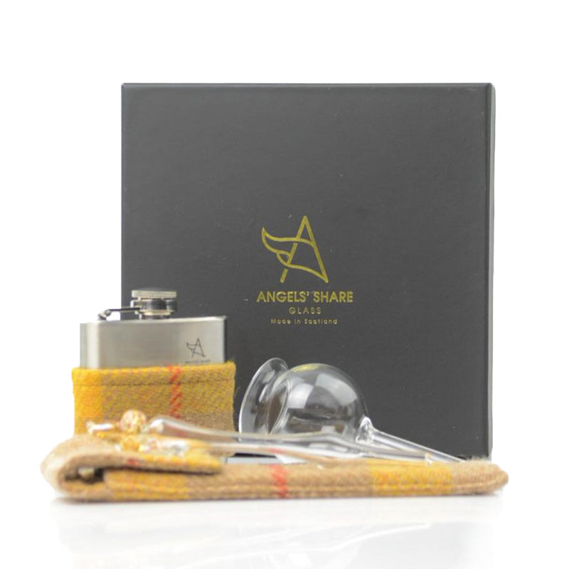 Harris Tweed Hip Flask (small) Dropper & Funnel - Gift Set