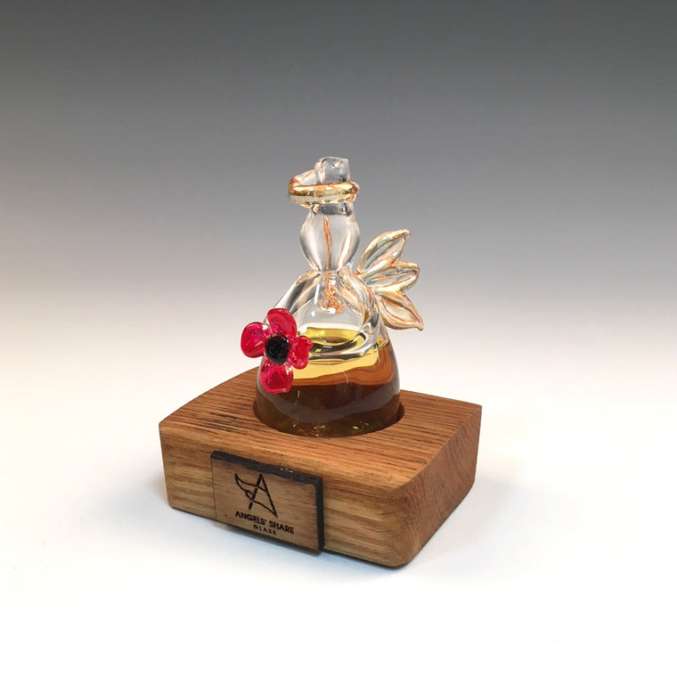 Poppy Whisky Angel on an Oak Stand