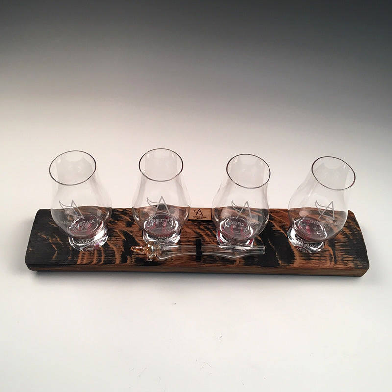 Oak Stave Whisky Flight with 4 Glasses