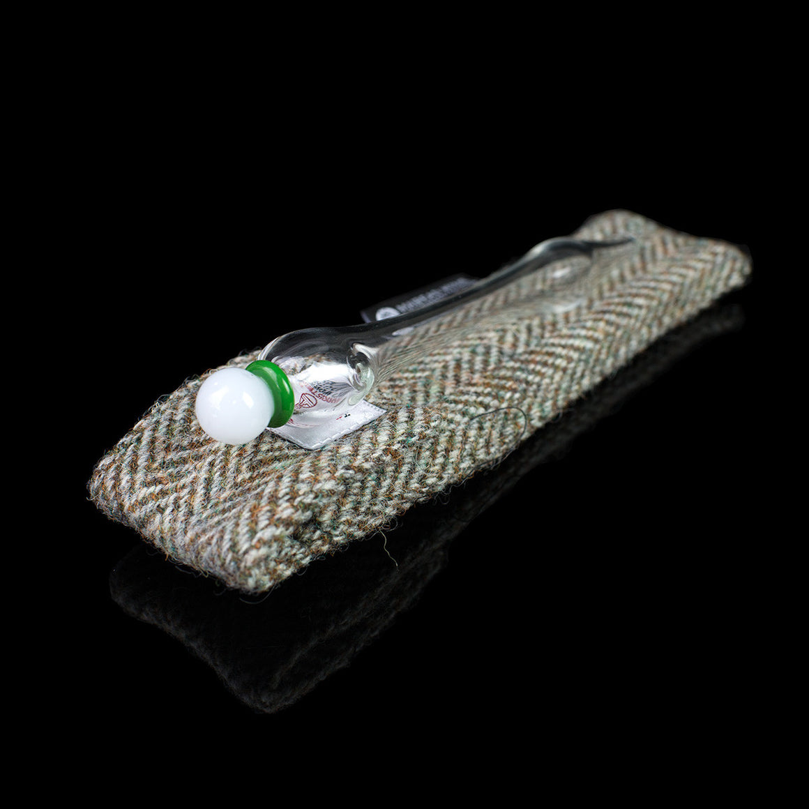 Golf Ball Pocket Whisky Dropper with Harris Tweed Case
