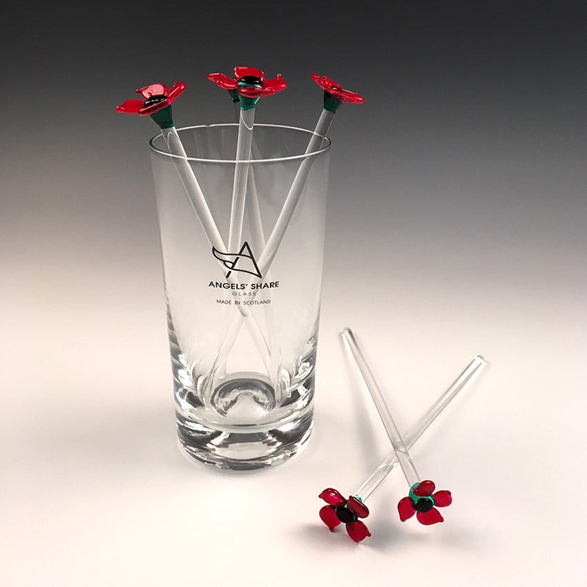 Poppy Glass Drink Stirrers