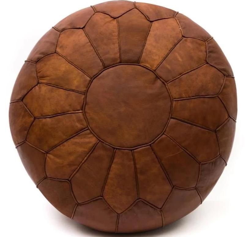 CozyBoho™ Vintage Brown Leather Pouf