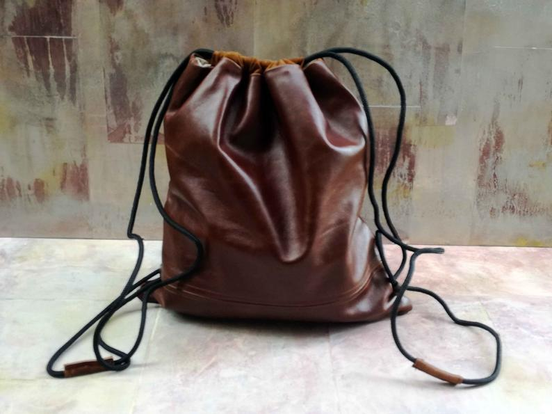 CozyBoho™ Leather Drawstring Bag