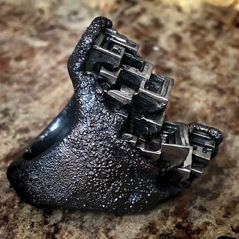 Monochrome Textured Bismuth Ring
