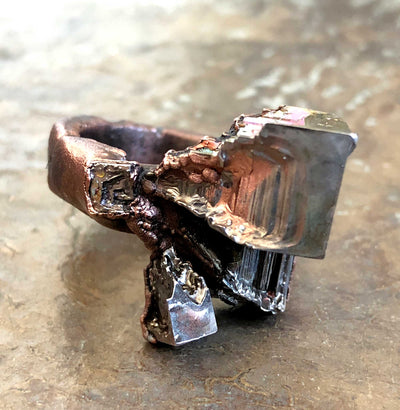 Bismuth Crystal Ring, Medium Band
