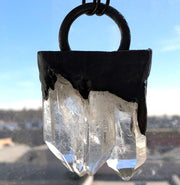 Clear Quartz Crystal Cluster Pendant, Single Loop