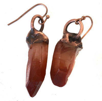 Red Hematoid Quartz Crystal Earrings
