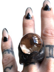 Lodolite Quartz Sphere Ring, Large