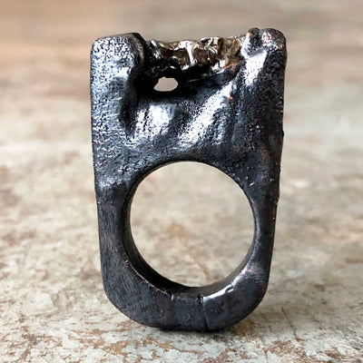 Meteorite Crater Ring, Dark Gunmetal