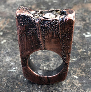 Meteorite Crater Ring, Textured Bronze Patina. Size 8